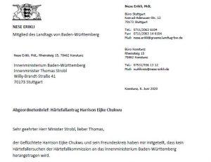 Harrison Eijke Chukwu: ein weiterer Abgeordnetenbrief an den Innenminister Strobl